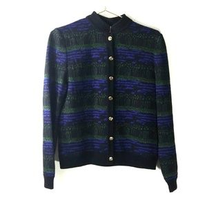 St john collection marie knit purple black sweater